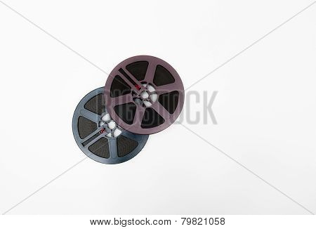 Couple Of 8Mm Reels Grey And Purple Isolated