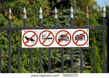 Russia. Tambov. Prohibiting Signs On The Fence Kazan Monastery