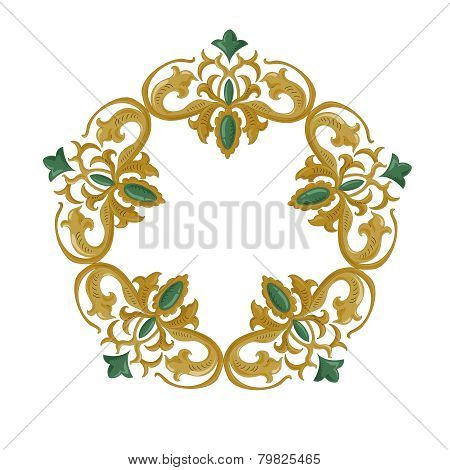 Decorative ornament with traditional medieval elements on isolated white