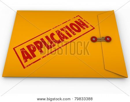 Application word stamped in red ink on a yellow envelope containing forms, paperwork or a resume to submit to an employer or applying for a bank loan or credit