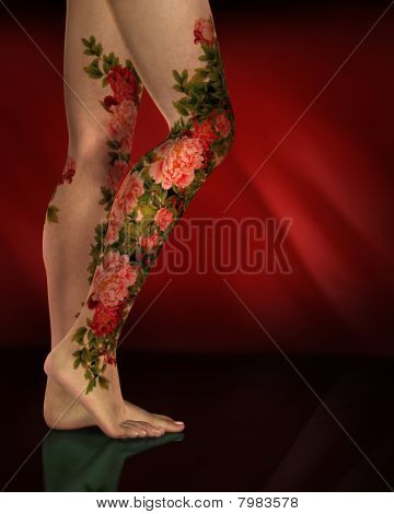 Female Legs Red Flower Tattoos