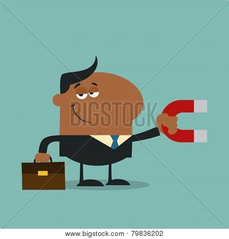African American Manager Holding A Magnet.Flat Design Style