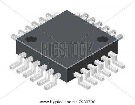Vector illustration of generic computer microchip