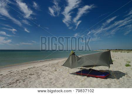 Tent on the sea coast