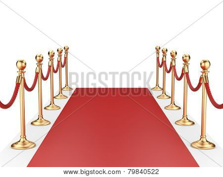 Red Carpet Between Two Gold Stanchions With Rope