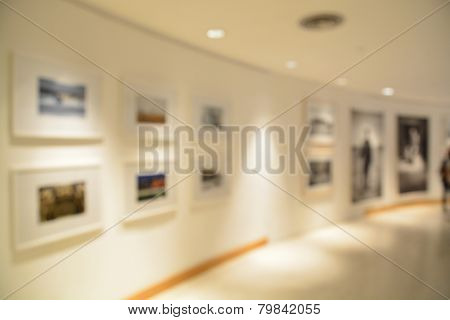 Blurred or defocus of Art Gallery or Museum Background poster