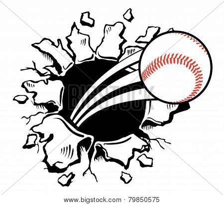 Baseball Busting Wall