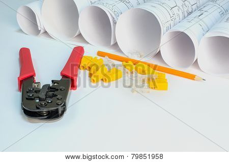 Drawing rolls, crimping pliers, connectors, boot caps, pencil composition