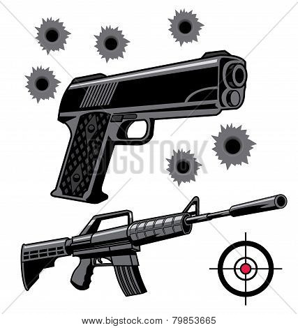 An illustration of Various firearms weapons and graphics poster