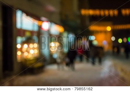 People Moving On Old City Winter Night Street Blurred