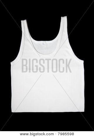 Men White Sleeveless Underwear Isolated At Black Background