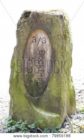 Old Boundary Stone In White Background