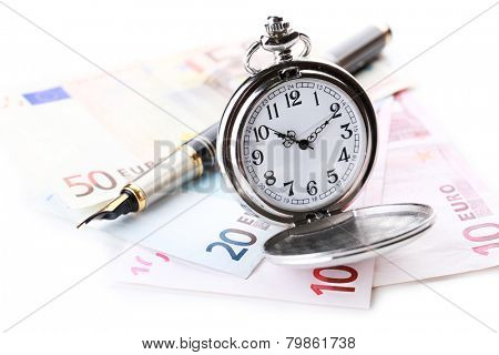 Silver pocket clock and money isolated on white. Time is money concept
