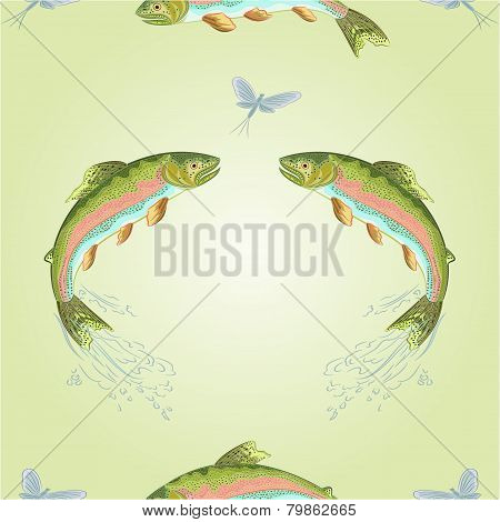 Seamless Texture  American Trout Jumps  Vector