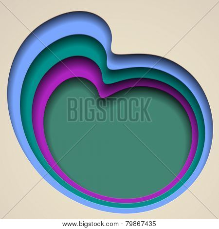 Polychrome abstract background with paper hole shapes