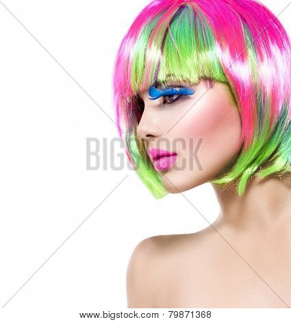 Beauty Fashion Model Girl with Colorful Dyed Hair. Haircut with fringe. Colourful short Hair. Portrait of a Beautiful Girl with Dyed Hair, professional hair Coloring. Colouring hair  poster