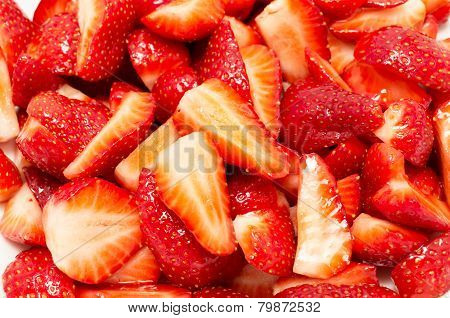 Background Texture Of Sliced Strawberries Marinated In Sugar