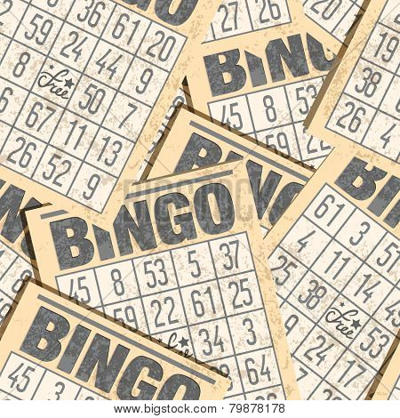 Bingo seamless retro background with cards