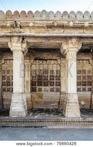 Carved Stone Grilles On The Walls At Sarkhej Roza In Ahmedabad