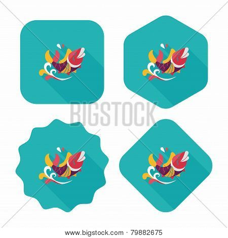 "Chinese New Year Flat Icon With Long Shadow,eps10, Chinese Decoration Means "" May You Always Get Mor, Design elements for mobile and web applications, stylish colors of vector illustration. poster"
