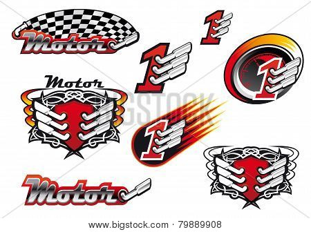 Racing and motocross emblems or symbols