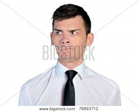 Isolated business man doubtful face poster