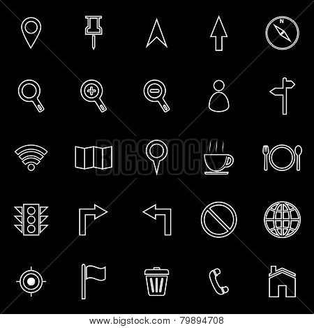 Map Line Icons On Black Background