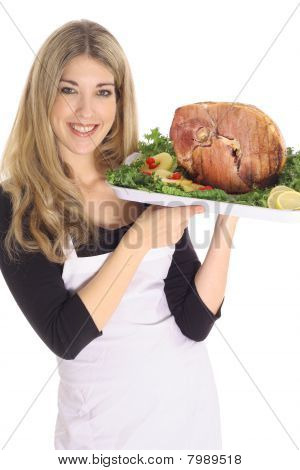 gorgeous girl with honey baked ham
