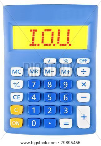 Calculator with IOU on display