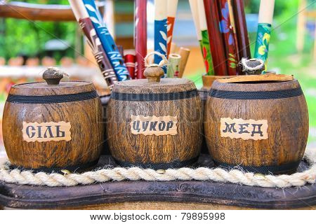 Wooden Pots Labeled
