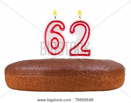 Birthday Cake Candles Number 62 Isolated