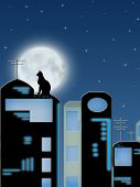 Cat sitting on roof of the building on background of the full moon poster