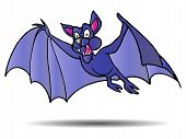 illustration of Vampire bat flying over isolated white background poster