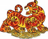 Tiger, symbol of coming year, a character of Chinese horoscope, vector illustration poster