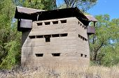 Krom River blockhouse south of Three Sisters in the Northern Cape Province of South Africa. Used by the British troups to defend the railway bridge during the second Boer War 1899-1902. poster
