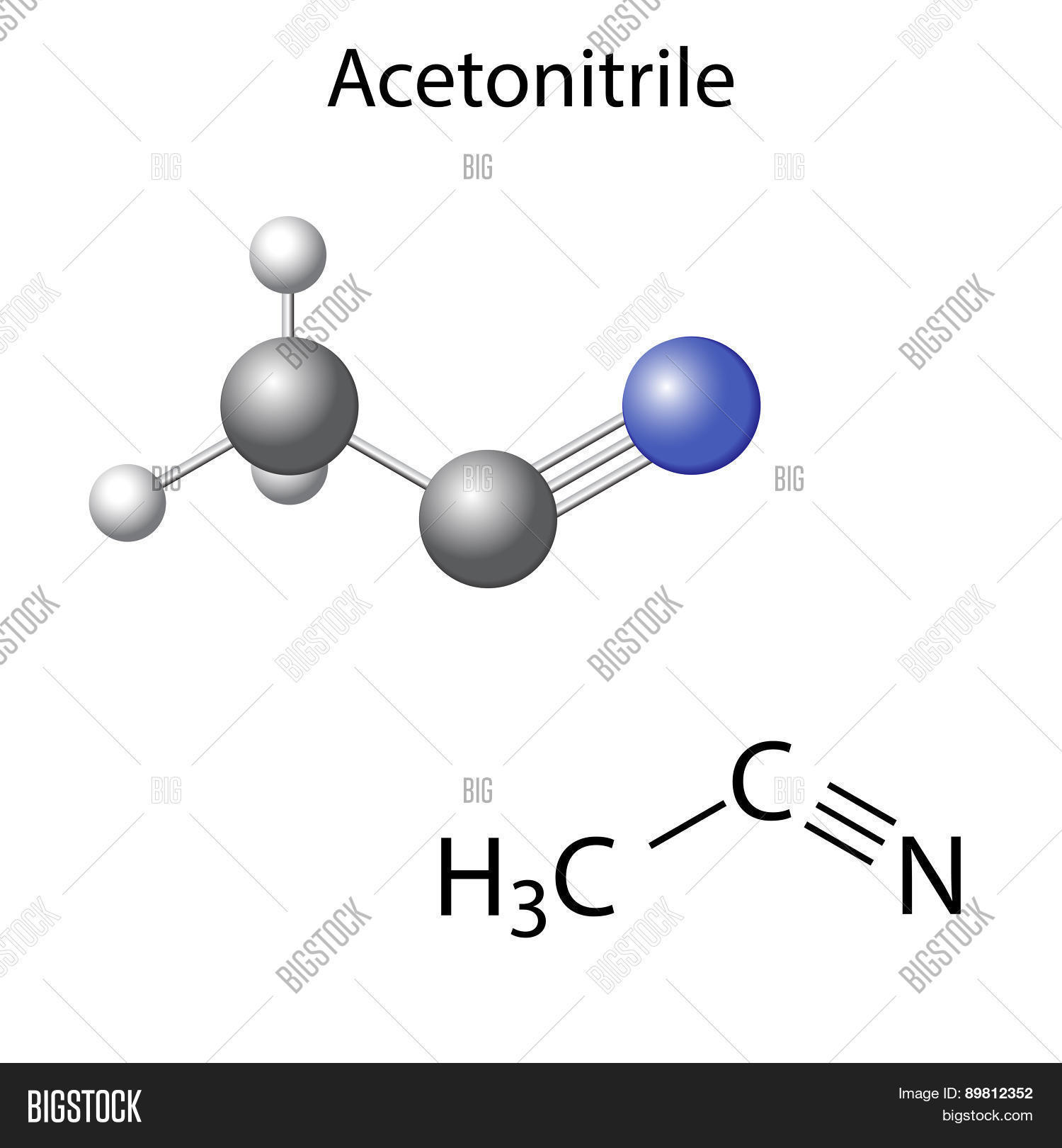 Structural chemical formula model vector photo bigstock structural chemical formula and model of acetonitrile molecule pooptronica