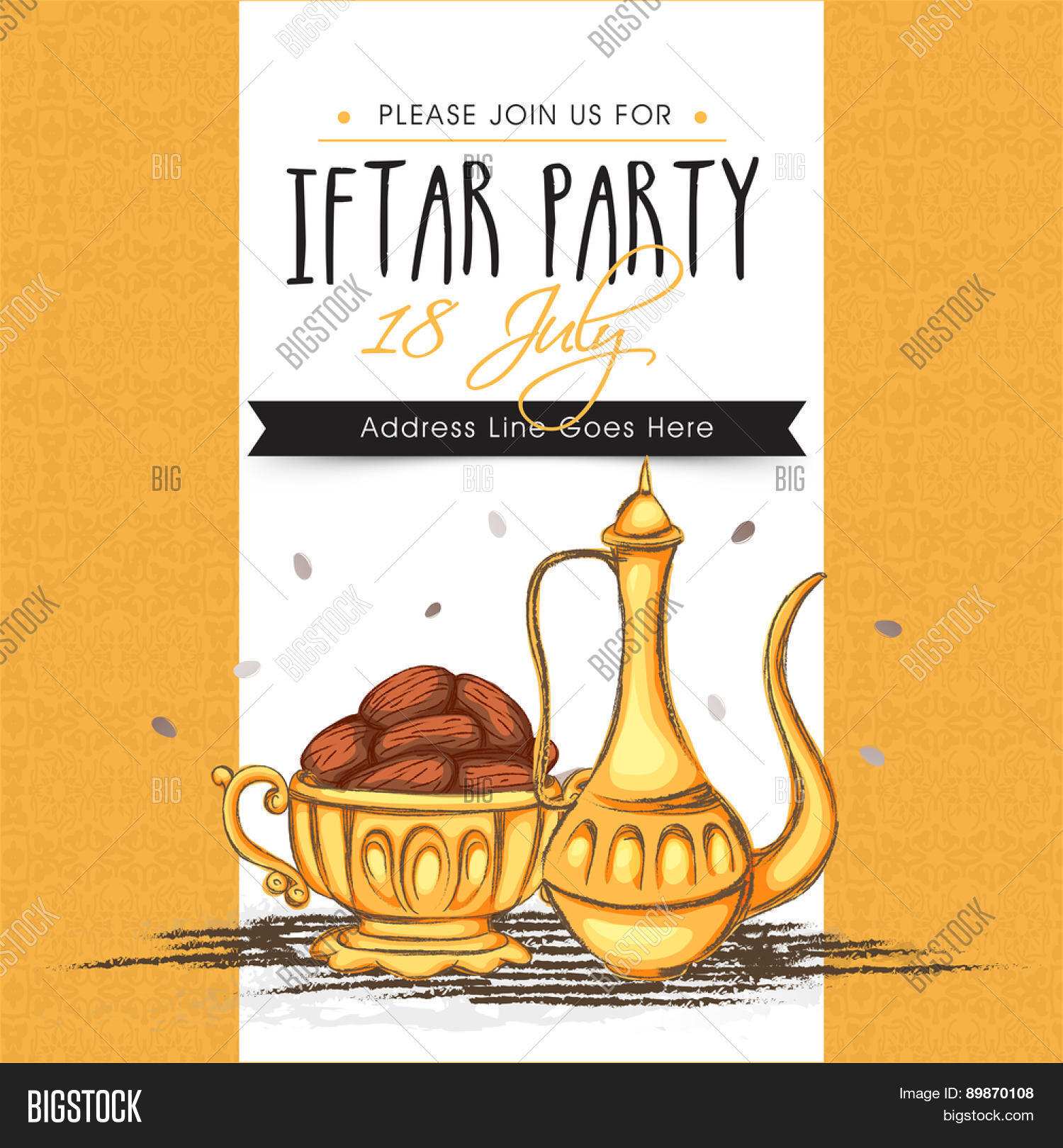 Creative invitation card dates vector photo bigstock creative invitation card with dates for muslim community festival ramadan kareem iftar party celebration stopboris Images