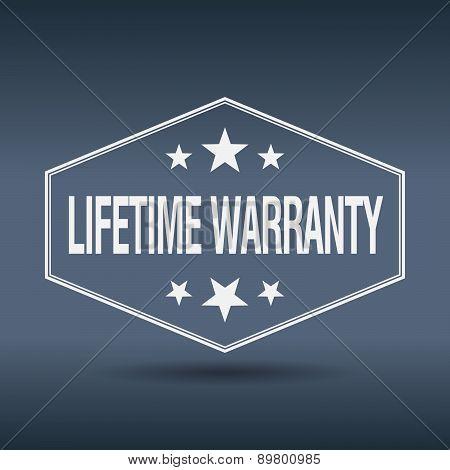 Lifetime Warranty Hexagonal White Vintage Retro Style Label