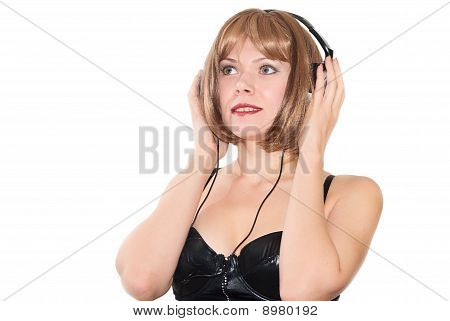 Young Girl Listen To Music On Headphone