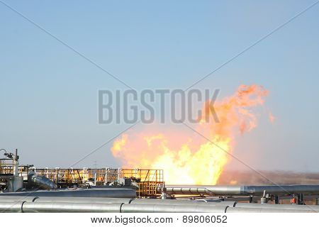 Gas and oil pipes escape with fire, iron construction, special place poster