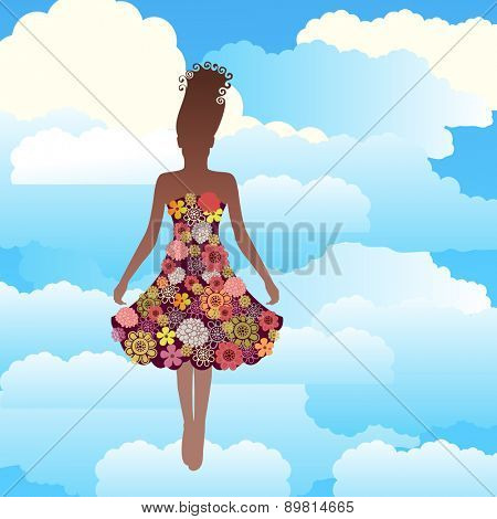 Woman in Spring summer flowers floating in the clouds