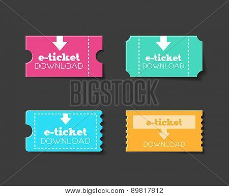 Collection of tickets or e-tickets for any kind of entertainment. Flat design style.