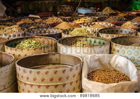 Spice seller In A Market, Morocco