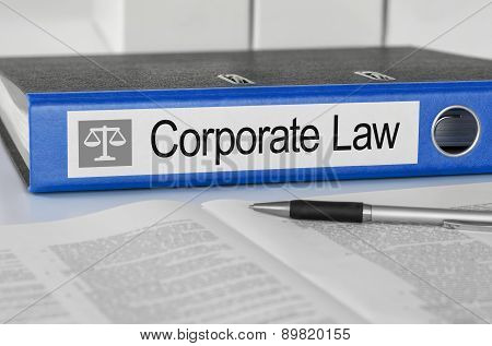 Blue Folder With The Label Corporate Law
