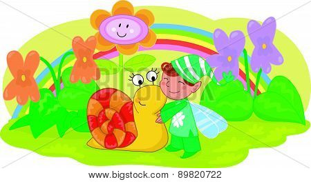 Elf with cute snail and flowers vector
