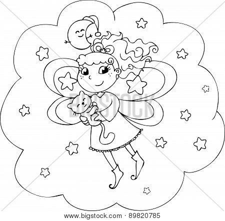 Coloring night fairy girl