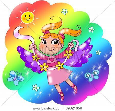 Cute rainbow fairy girl