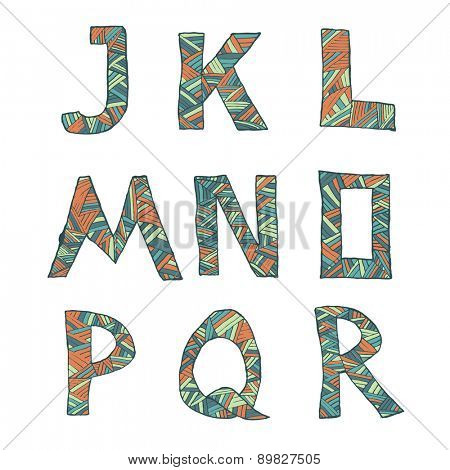 Hand drawn artistic font from lines, letters J-R