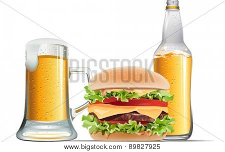 Classic cheeseburger with beer on white background