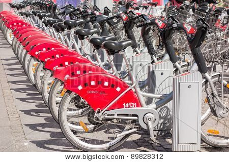 Lyon, France - On April 14, 2015 - Shared Bikes Are Lined Up In The Streets Of Lyons, France. Velo'v